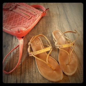 Tan T-strap Thong Sandal with Gold Glitter Accent